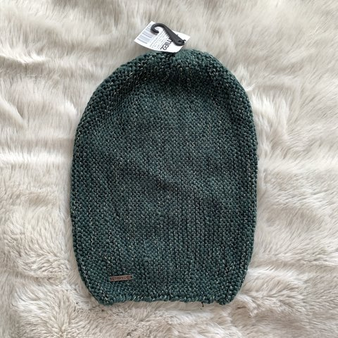 42ec67b5a8291 New with tags dark green  emerald and silver slouchy beanie - Depop