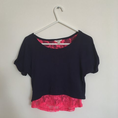 224fff8e350b1a 💞 super cute navy crop top with neon pink lace 💞 ~ WILL a - Depop