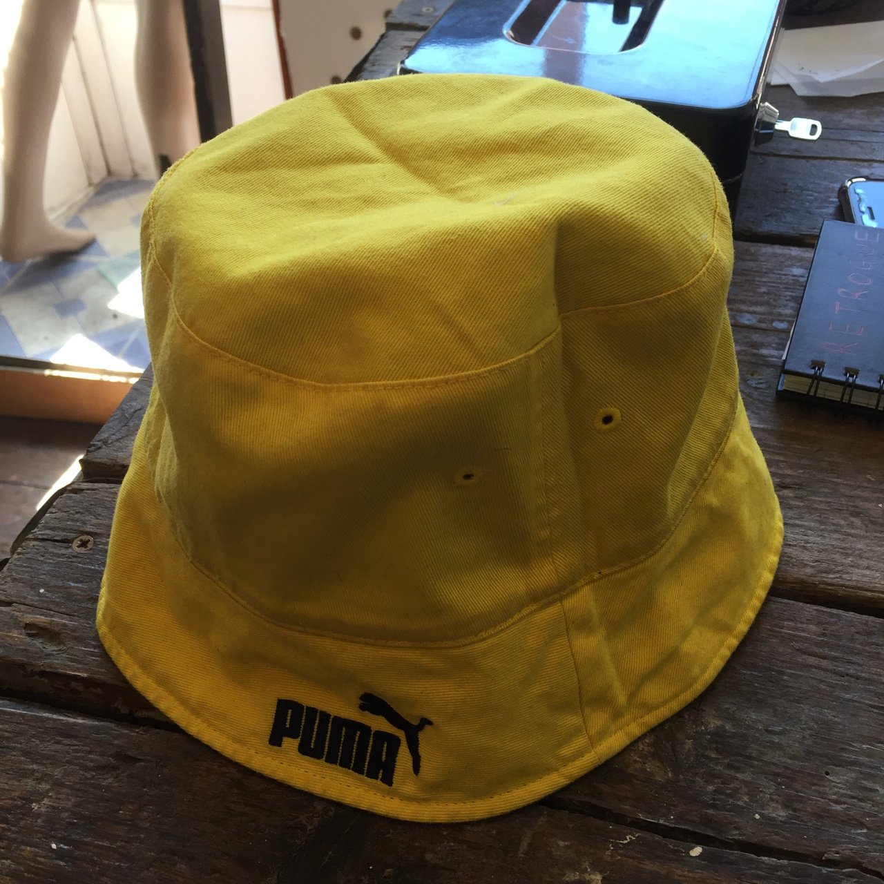 4b7bafb3a871e Vintage puma bucket hat Reversible Yellow Blue Puma One - Depop