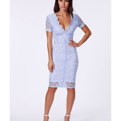 698f15e97a @hamond121. 4 years ago. Sale, UK. Missguided Emina baby blue lace plunge  midi dress ...