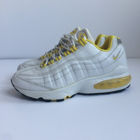 94fa3499b9 ... store nike air max 95 white yellow leather size uk 5 eu 38 . depop e0d1c