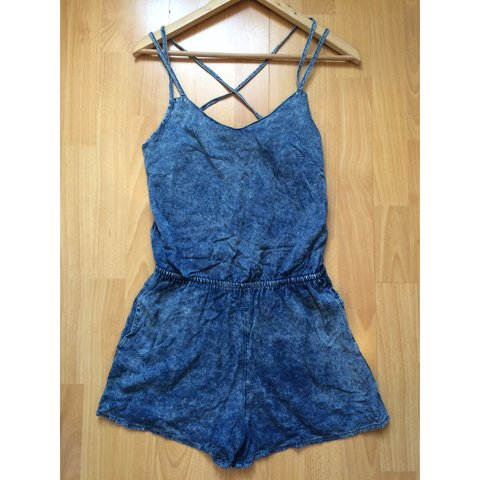 8d0066b9af4 Acid Wash Denim Playsuit. Size 10 and a beautiful wear and - Depop