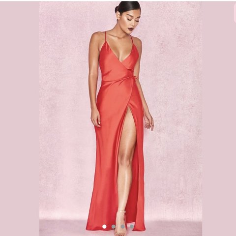 976ad48fa8c House of cb Audreyana red satin wrap maxi dress Size only is - Depop