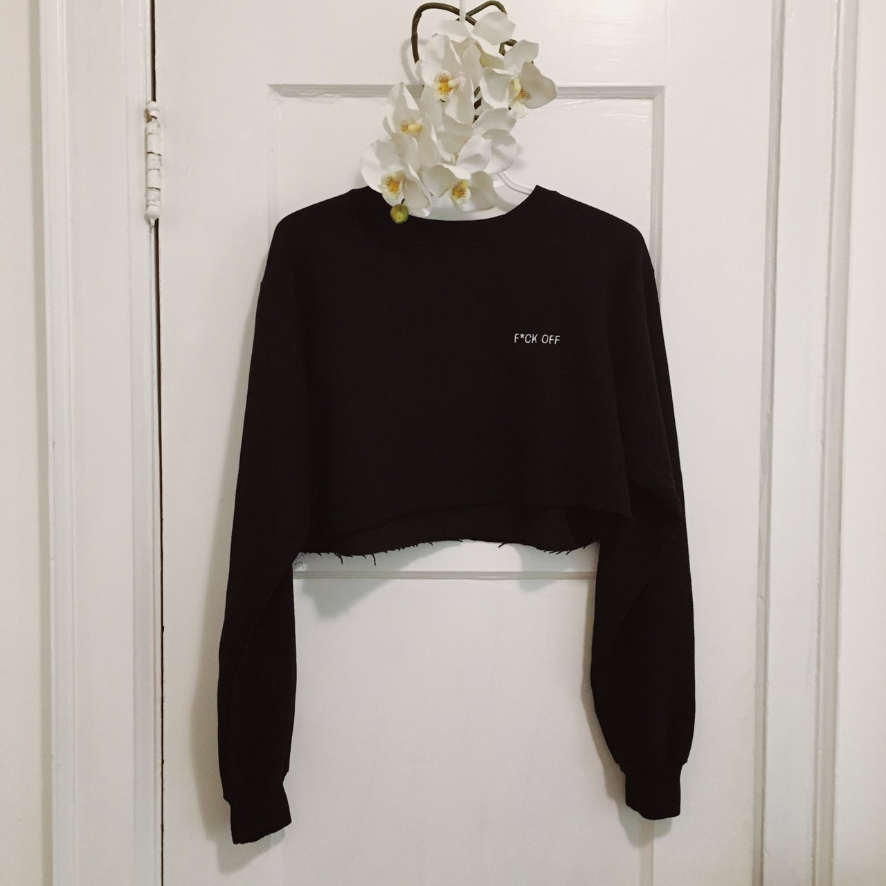 e1bf2cb431890 F CK OFF cropped sweater 🦋 one size but would say fits like - Depop