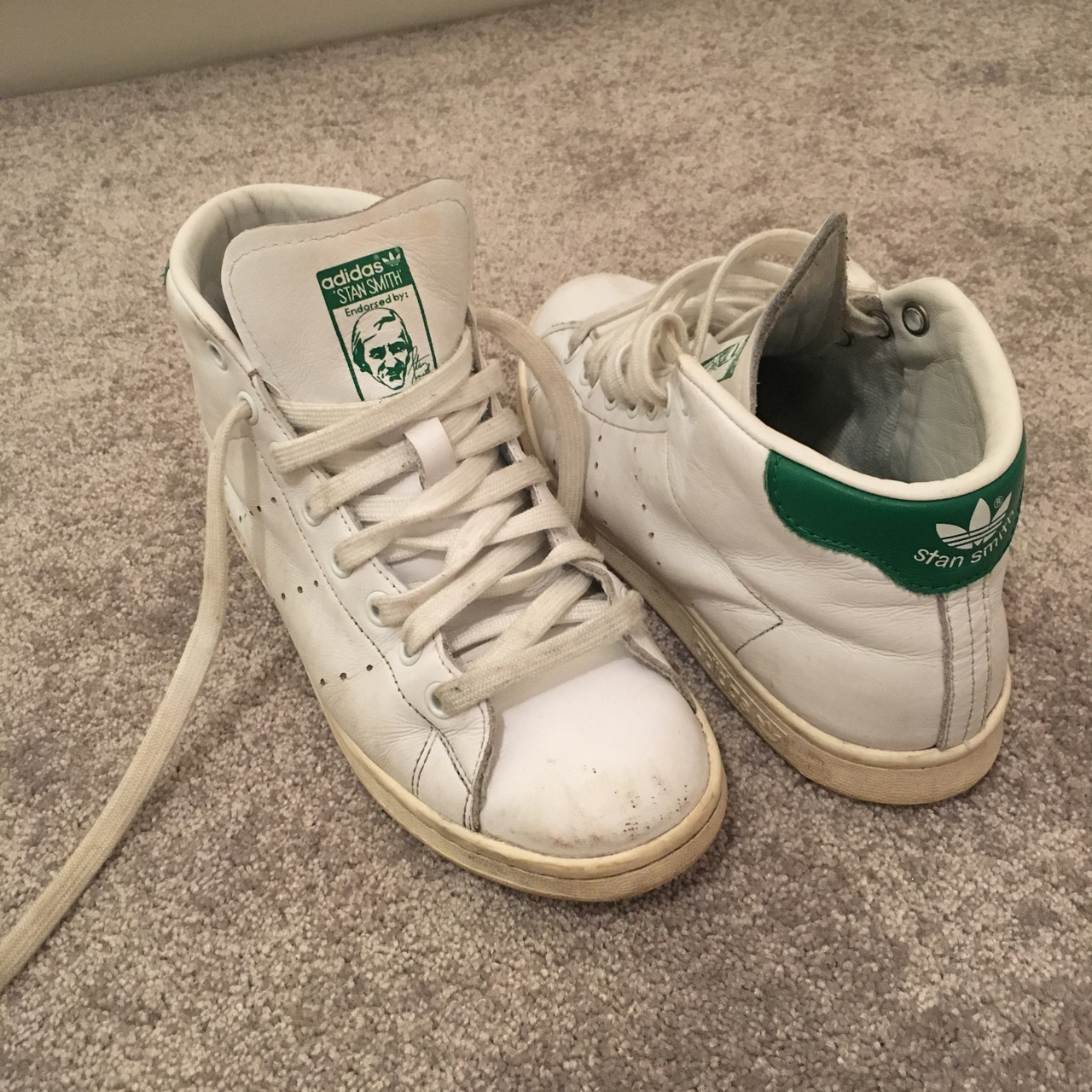 ADIDAS STAN SMITH HIGH TOPS worn but