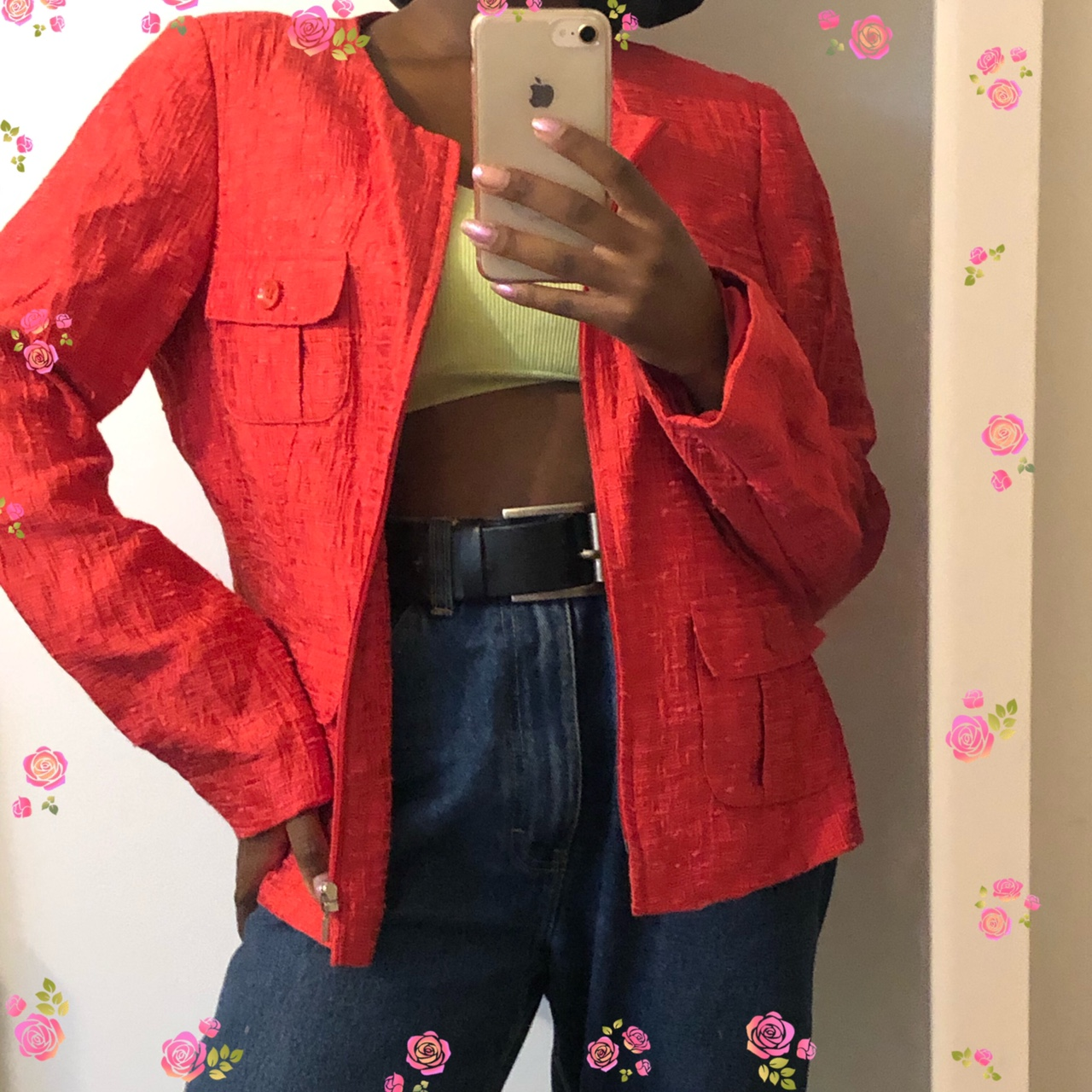 Red casual blazer jacket Will change items to CAD... - Depop