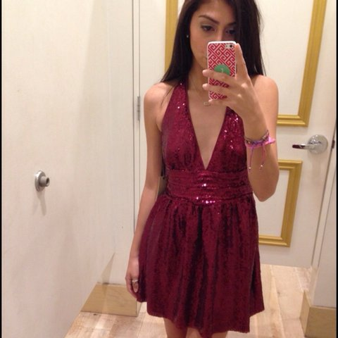71ab2541 Forever 21 sequin halter dress. Size S/M Gorgeous red berry - Depop