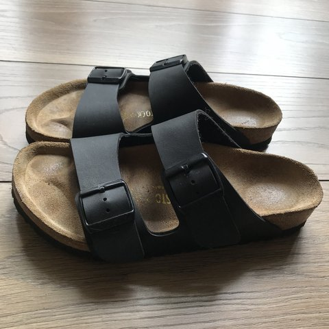 a93983e6e70 Birkenstock sandals. Black leather Arizona Birkenstocks. a - Depop