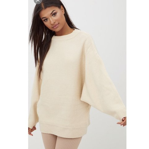 6727411ca5e Raysa beige oversized knitted jumper I wore as a dress size - Depop
