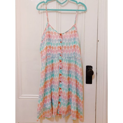 934cb8f799c Sass Pastel Sundress Size 16 Adjustable straps and a band of - Depop