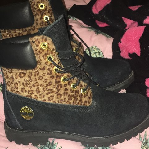 Black suede leopard timberland boots