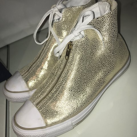 5d3f1ceff350 Limited edition  converse. Gold and white with zipped Can be - Depop
