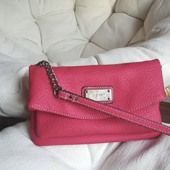 cherry-red Nine West faux leather convertible crossbody clutch 🍒