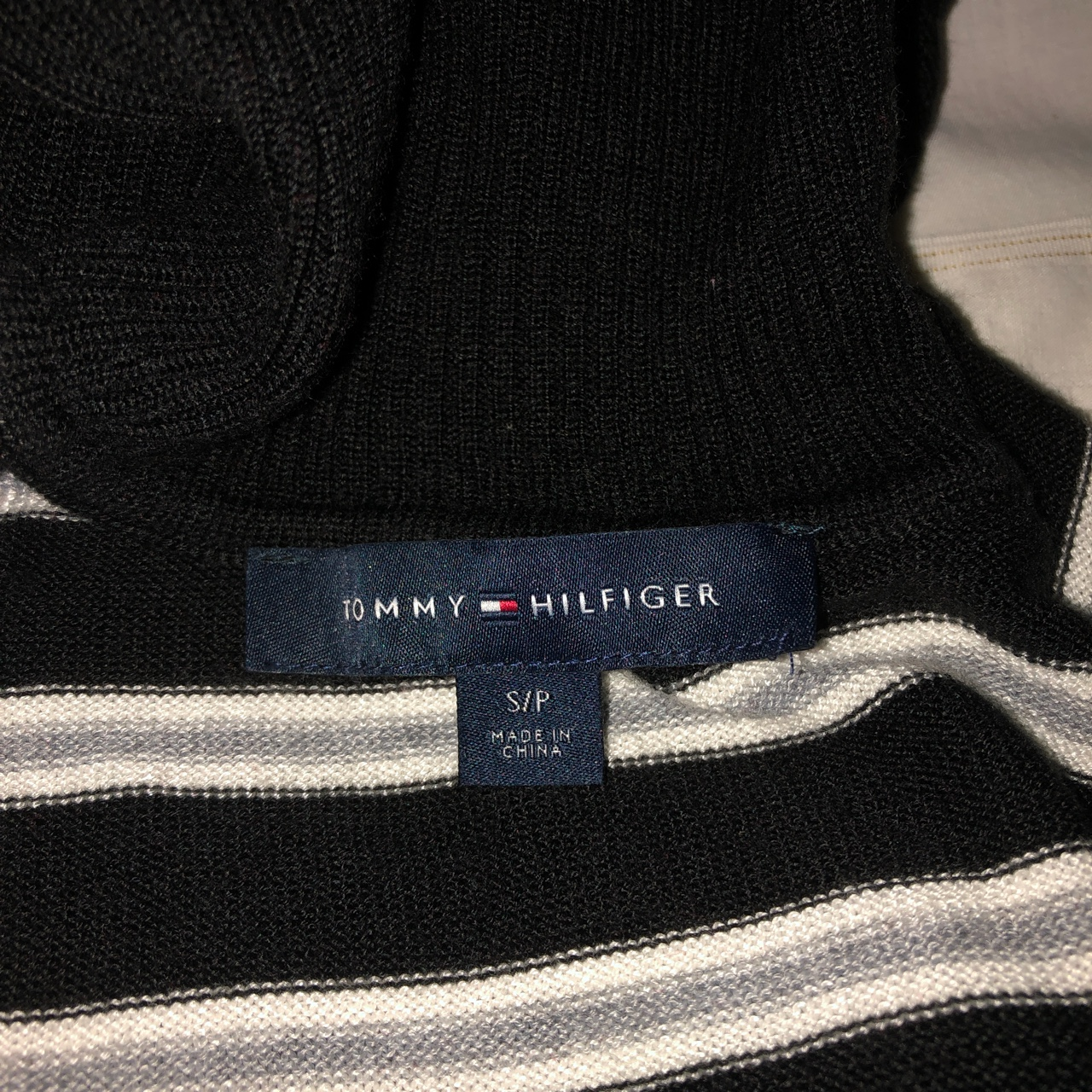 Tommy Hilfiger black and white striped 3/4 quarter sleeve