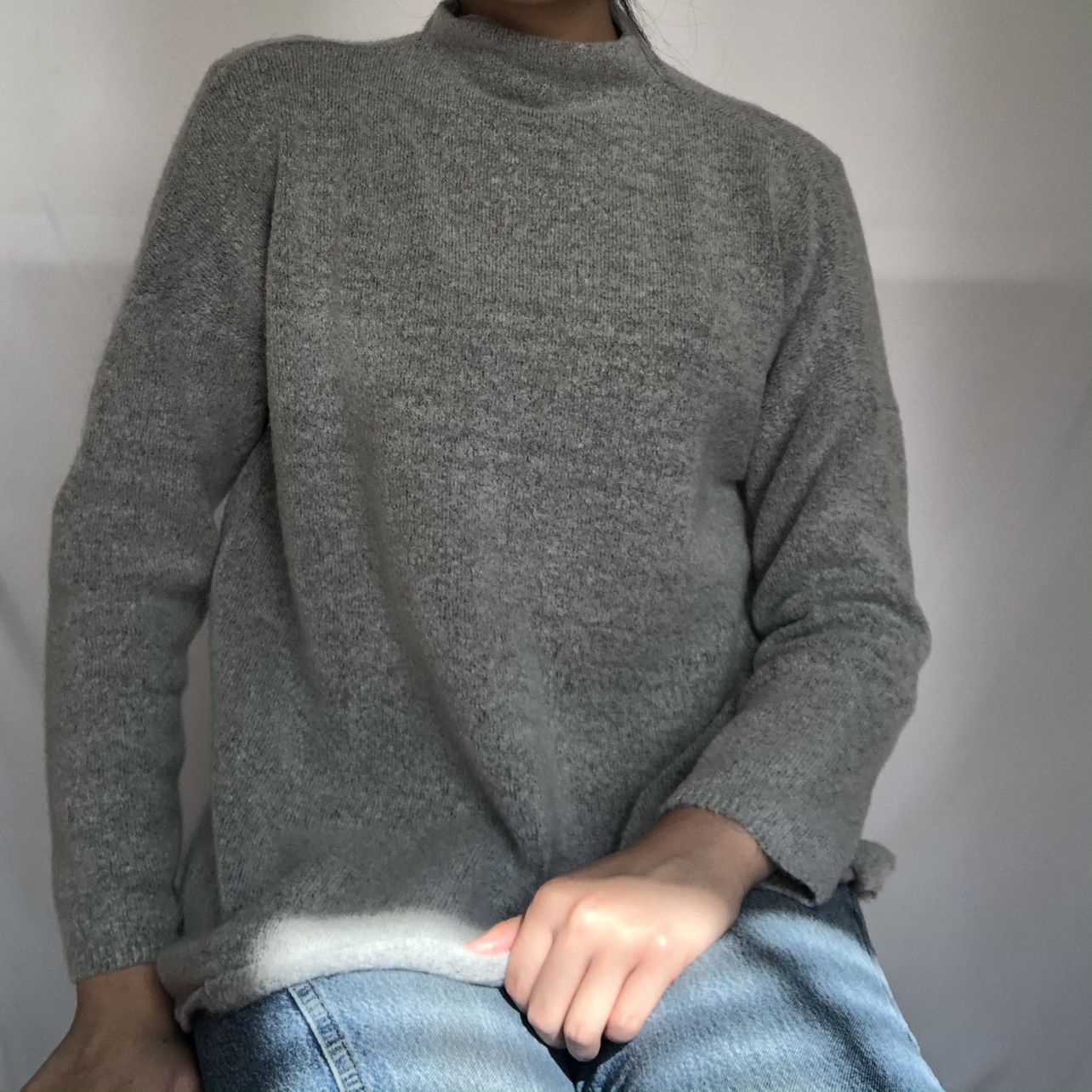 CottonOn light gray mockneck sweater. So soft and cozy
