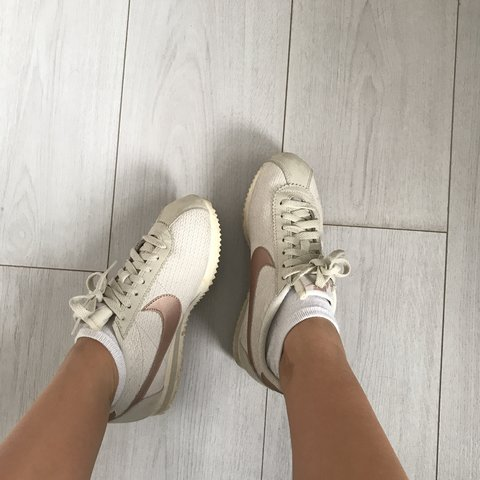 44ae7893c400 Nike Cortez - white   grey with rose gold tick. Worn like in - Depop