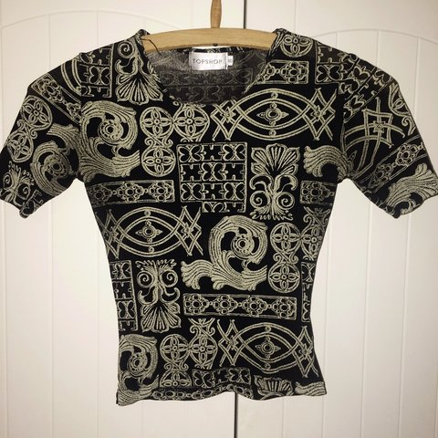 66867899effe0 Vintage mesh gold patterned crop top from topshop!!! Its a a - Depop