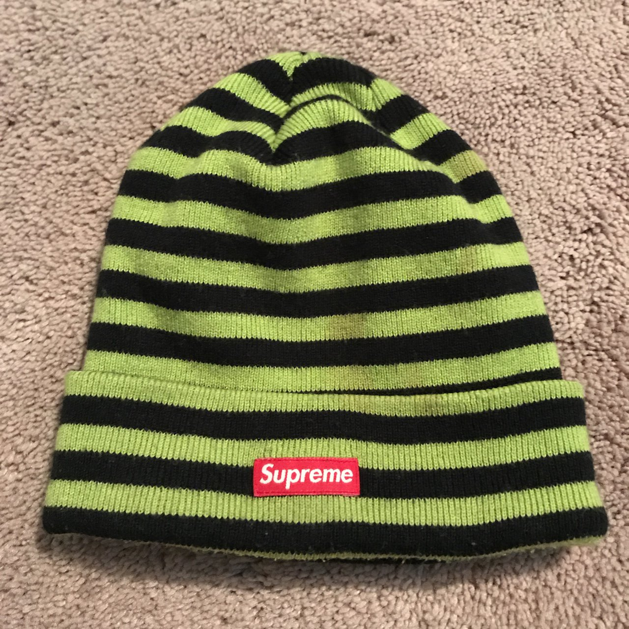 d825ccfe @kaedwards. 2 years ago. Centreville, United States. lime green Supreme  beanie