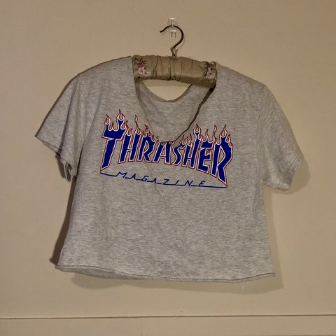 0bcc6e738ced Thrasher tee cut into a V-neck crop top. The tee was sized a - Depop