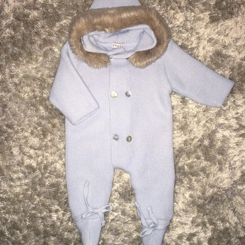 624340262 Spanish baby boy Mebi chunky knitted pramsuit. Fur hood trim - Depop