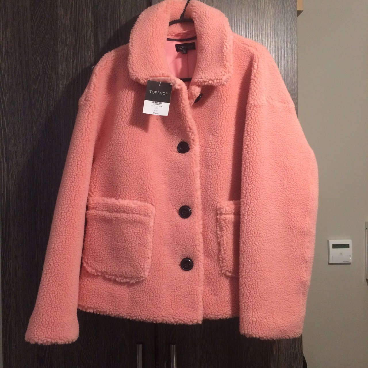 4be1b429d0048 Topshop pink borg coat Brand new unworn with tags RRP 6 but - Depop