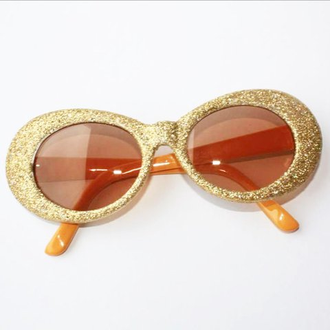 234676a9670 ✨ Gold glitter clout goggles   oval sunglasses ✨ Only ones - Depop