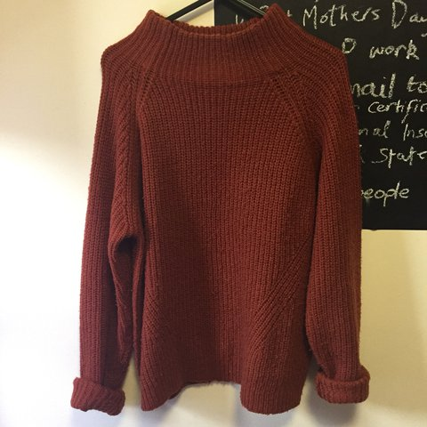 Cute knitted jumper in a lovely burnt orange colour! Size 12 - Depop aaaf63829