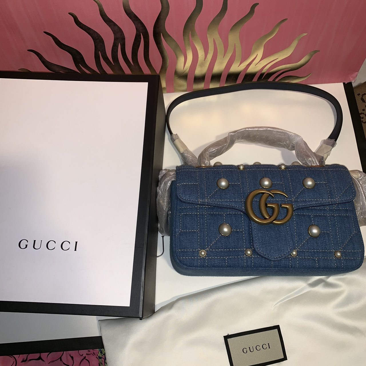 3362c64d0337 @naimibrahim. in 2 hours. New York, United States. Gucci Pearl-Embellished Marmont  Bag Is ...