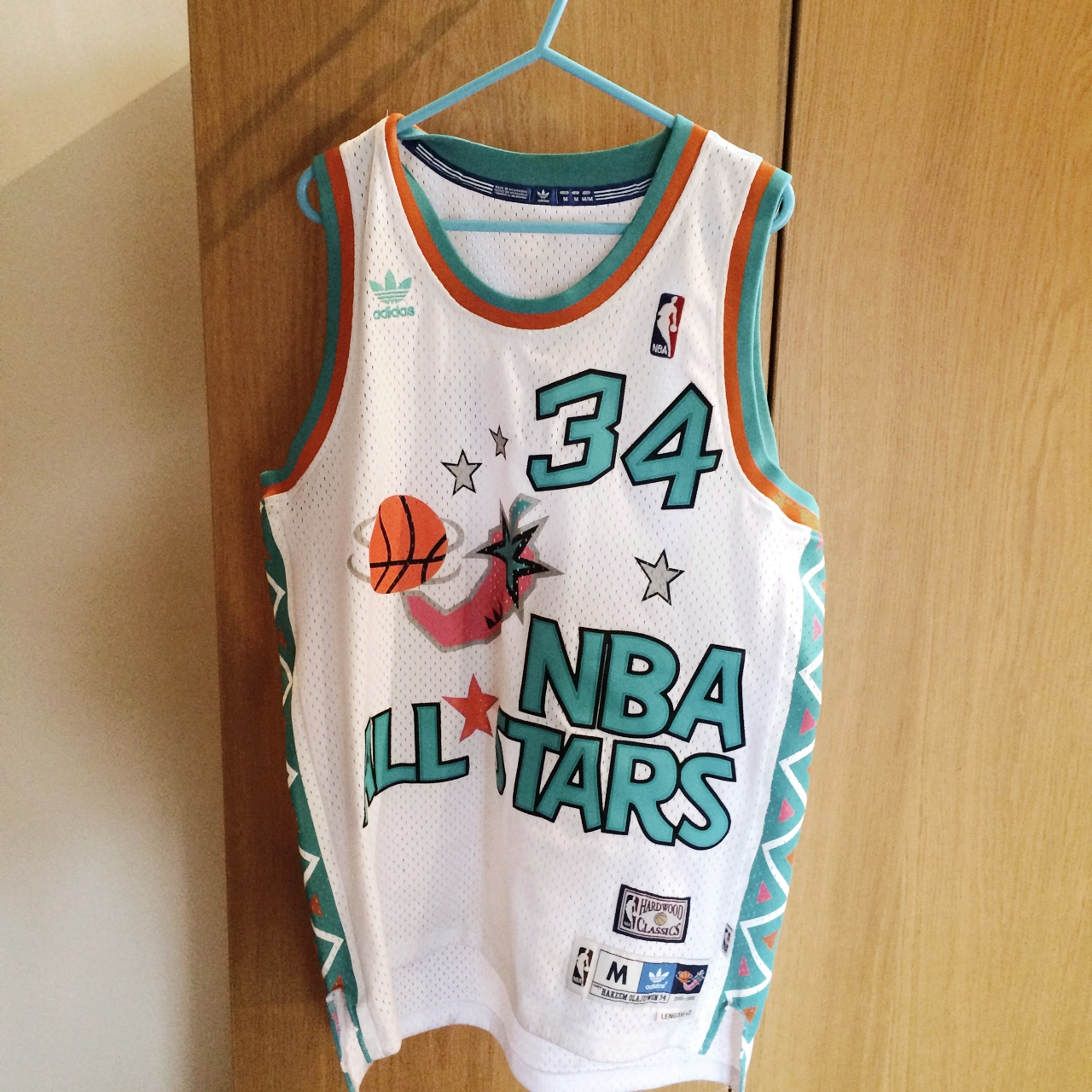100% authentic cad91 1eee5 Hardwood Classics NBA All Stars, Hakeem Olajuwon #34 ...