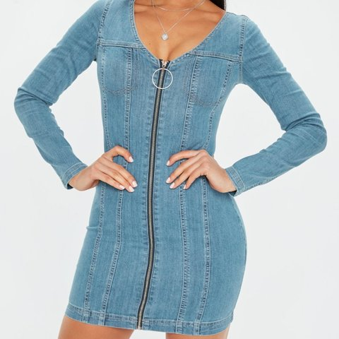 a78e0cae7d Missguided long sleeve denim dress. Only worn once so in 8. - Depop