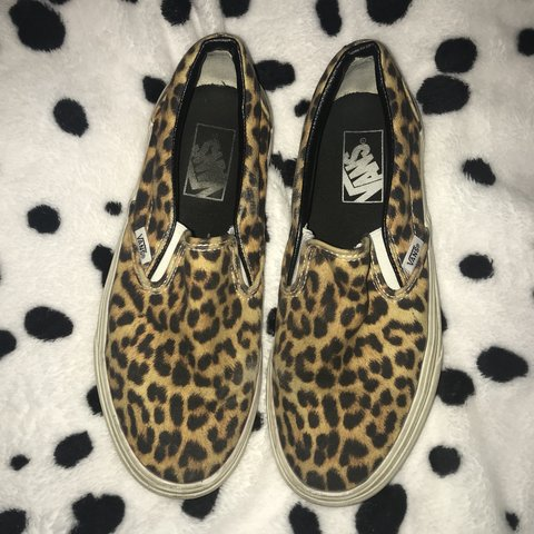 62c4999138 Leopard cheetah print slip on vans💛💛 these were my shoes I - Depop