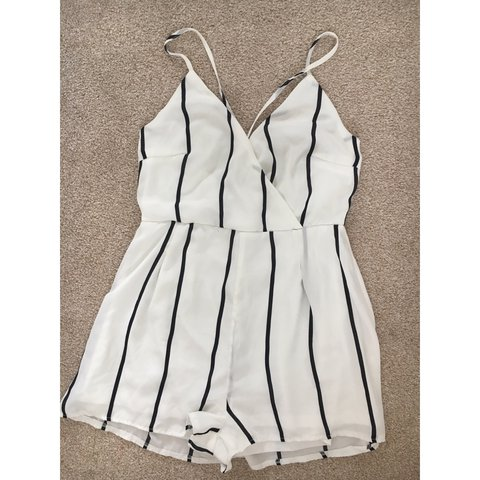 cfb473704fe4 Missguided white and black playsuit size 12 but fits me and - Depop