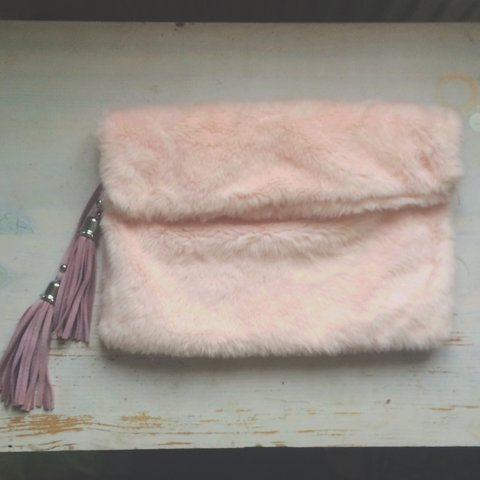 d890b24390d9 Lamoda - faux fur roll top clutch bag - light pink - only - Depop