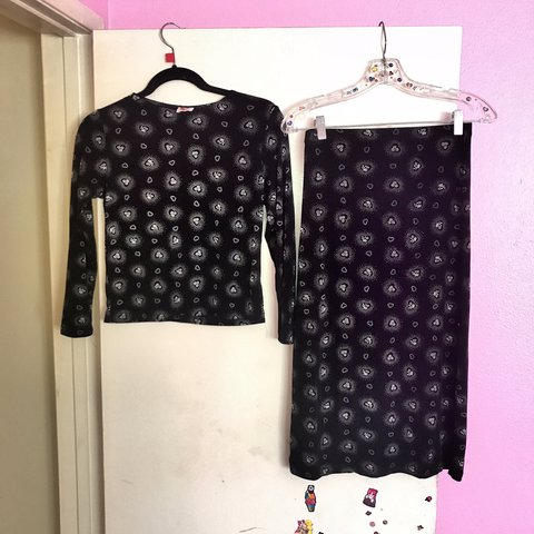 55057f45624c57 Vintage 90s black heart pattern two piece matching 16