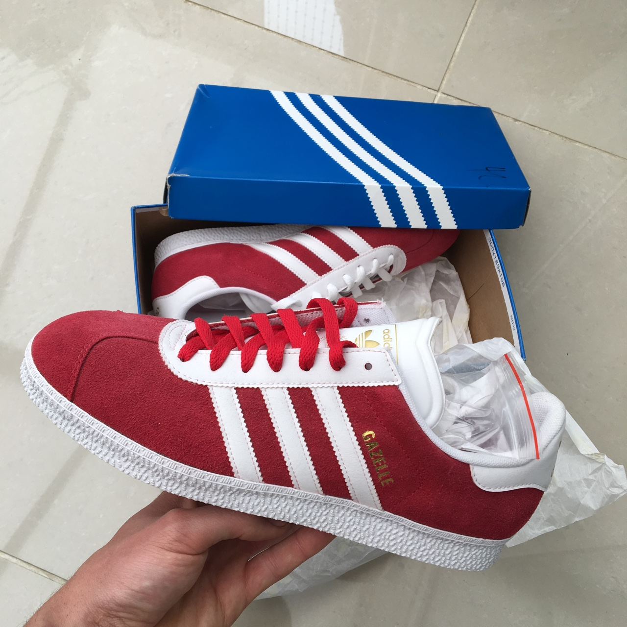 Brand new Adidas Gazelle Suede Trainers. Red & Depop