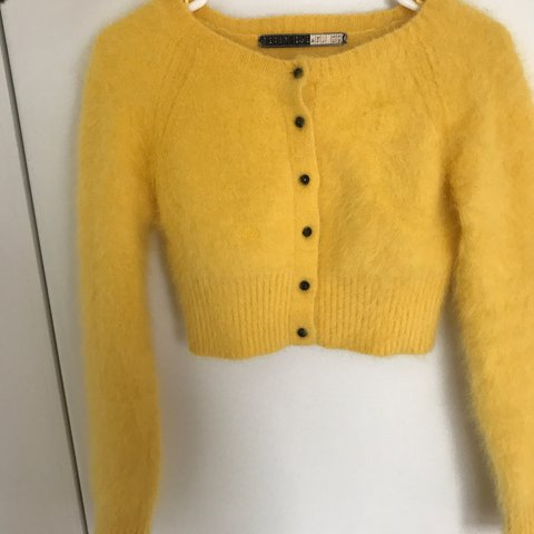 6066efdb0d Reserved - 🐥 Fluffy vintage yellow angora cropped sweater   - Depop