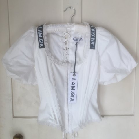 97e24b1a85f86 SOLD OUT I AM GIA white chelsey corset size S - new w  tags. - Depop
