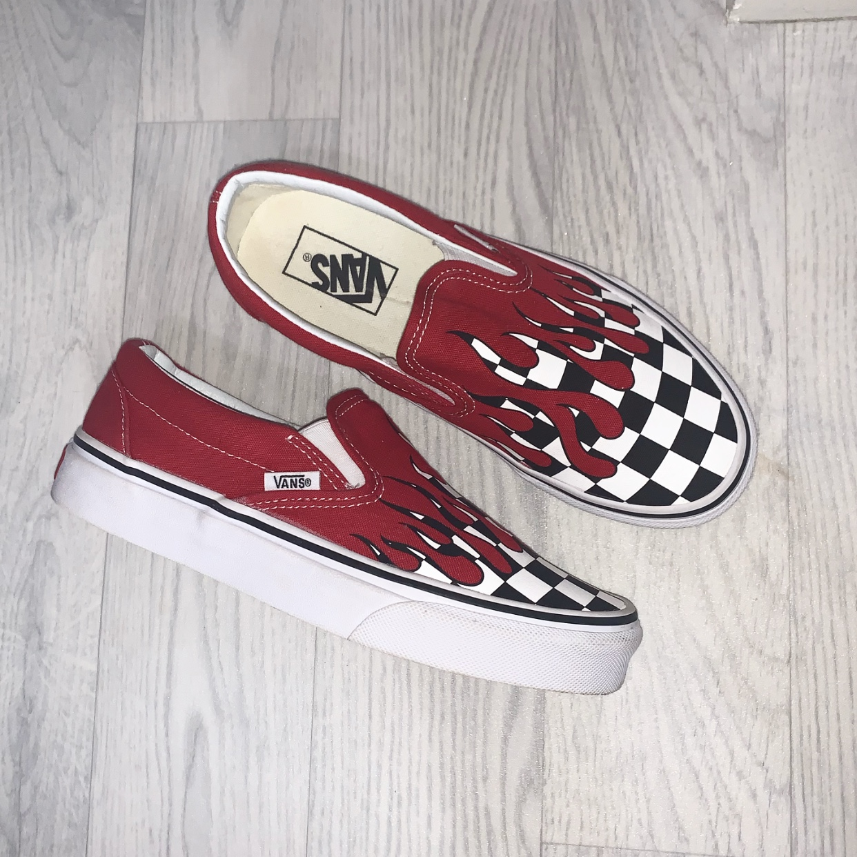 Selling my checkered red drip vans
