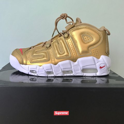 ae0b32a562987 Supreme x Nike uptempo Size UK 8 Gold colourway DEADSTOCK - Depop