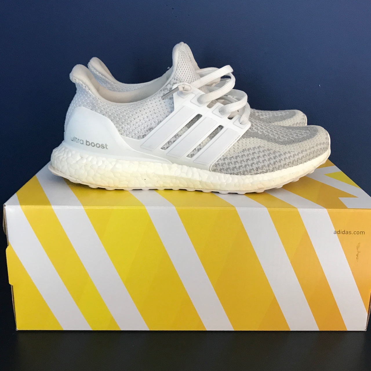 wholesale dealer d611d d4c3d Adidas ultra boost triple white reflective 2.0 Size... - Depop
