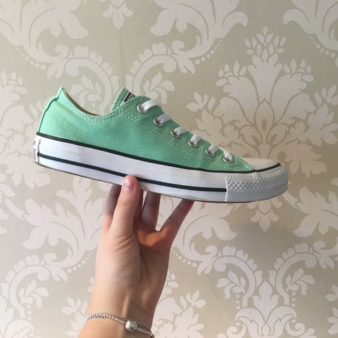 3bd2b6687bf58e Mint green converse size 5! They are soooo beautiful! But a - Depop
