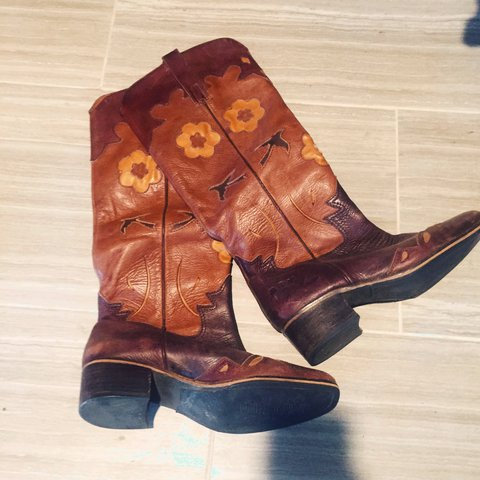 3b891c8bc0a5 Distressed lucky brand cowgirl boots. Gently used still in - Depop