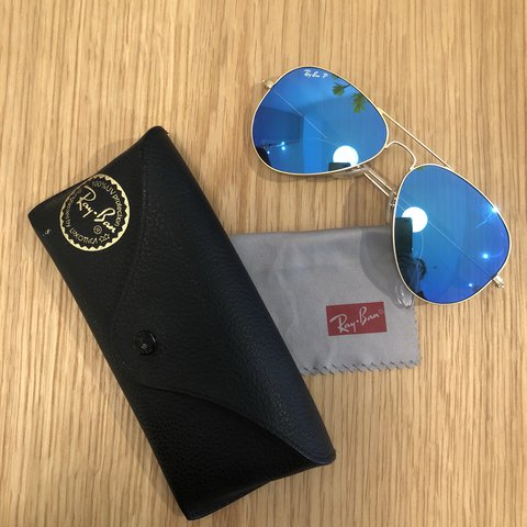 a018825587 Ray Ban aviator sunglasses. Gold frame with blue flash Only - Depop