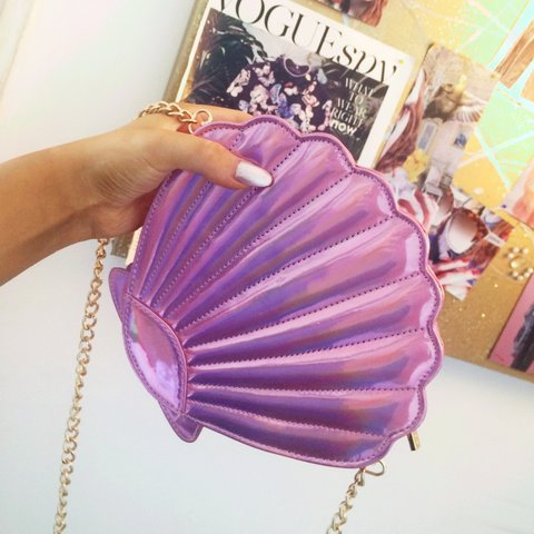 Holographic lilac  pink oyster cocktail bag from Skinny Dip - Depop 0be58b8c31633