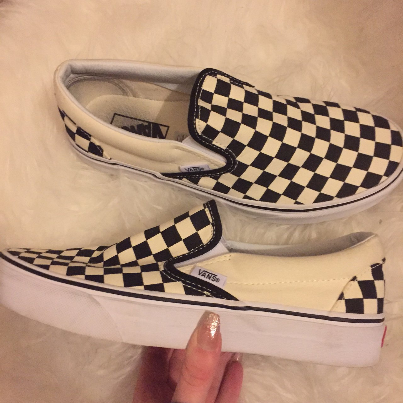 711bb529bf2 Black and white checkerboard vans Perfect condition