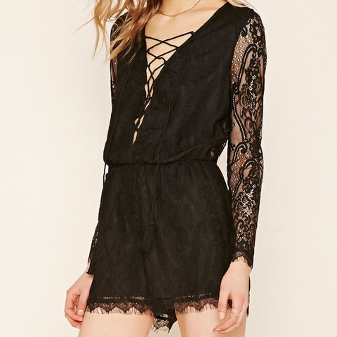 38c6eb61901 Forever 21 lace sheer back lace up playsuit romper worn once - Depop