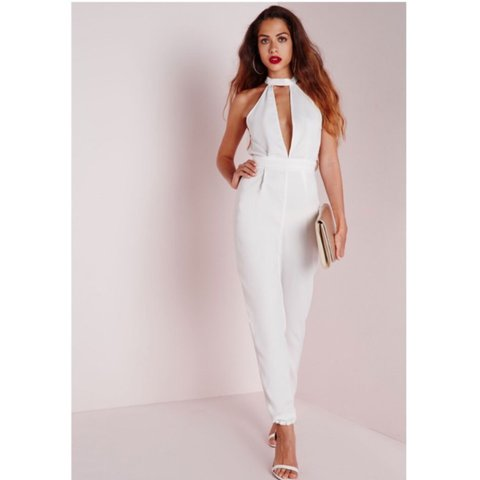 559bf1ae6920 Gorgeous white halter neck low back and front jumpsuit from - Depop