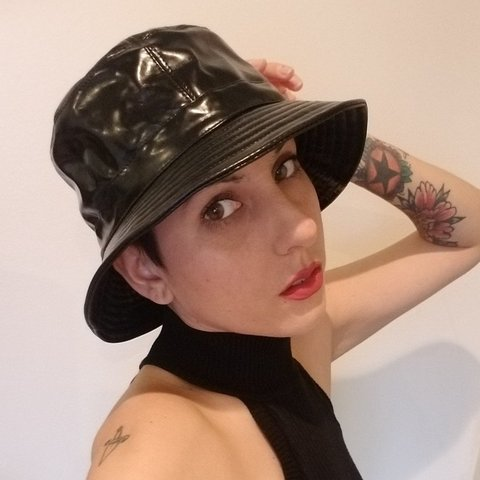 Shiny faux patent leather bucket hat straight from the 00s! - Depop bd9670d1038