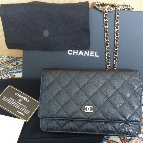 748c40ecd0a6 Chanel Wallet on chain (WOC) 2015 in caviar leather and gold - Depop