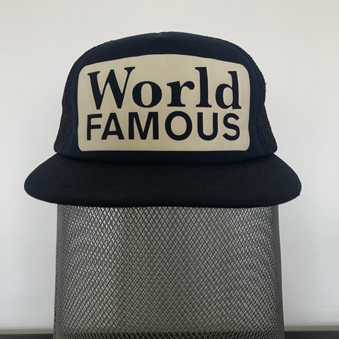 7259d427 @brendanmcgregor. last year. Blackpool, United Kingdom. Supreme S/S 13.  World Famous trucker hat with mesh panels in navy blue. One size ...